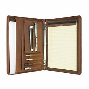Original Leather Briefcase Business Binder Portfolio With Zippered