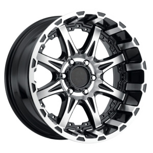 Set 4 17x8 5 0 6x139 7 American Outlaw Doubleshot Black Wheels rims 17 61498