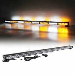 50 Led Warning Emergency Response Signal Tow Truck Amber White Strobe Light Bar