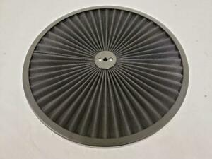 14 Round Black Flow Thru Washable Air Cleaner Lid Top Only With Black Trim Ring