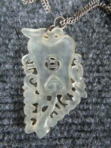 Antique Chinese White Jade Necklace Pendant