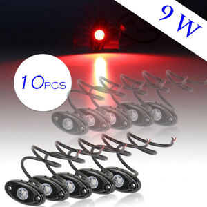 Pair 9w Cree Led Rock Light Lamp For Truck Jeep Atv Suv Trail Rig Bar Lamp Red