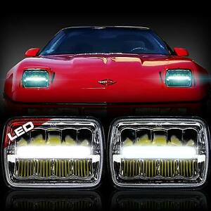 Two Led 5x7 Inch Led Headlight Replacement For Chevy Corvette C4 84 To 1996