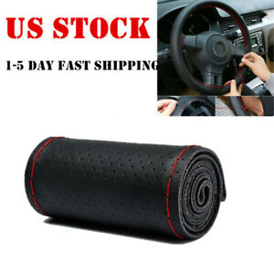 Us Red 15 38cm Genuine Leather Diy Car Steering Wheel Cover Neddle And Thread