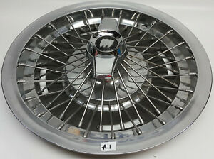 1964 65 Buick Rivera 15 Stainless Wire Spoke Hub Cap W Chrome 2 Bar Spinner 1
