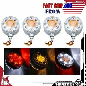 4x Led Pedestal Dual Face Fender Tail Turn Signal Roof Lights For Truck Tractor