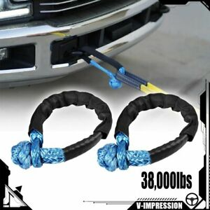 Pair Blue 1 2 Inch Soft Shackle Rope Synthetic Towing Recovery Strap 38 000lbs