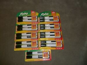Expo Magnetic Dry Erase Markers With Eraser Chisel Tip Black 18 Total New