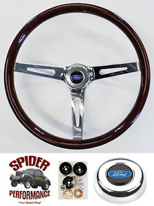1963 1964 Fairlane Galaxie Steering Wheel Blue Oval 15 Muscle Car Wood