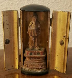 Antique 19thc Japanese Gold Multi Color Black Lacquer Buddha Shrine