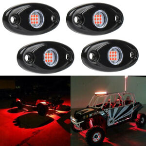 4x Red Led Rock Light W 4pods Lights For Jeep Off Road Truck Car Atv Under Body