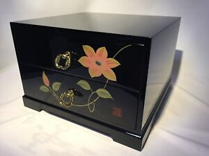 Japanese Wooden Lacquered Sewing Box Makie Vtg Haribako Chest Tansu 2 Drawers
