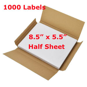 1000 Labels 8 5x5 5 Half Sheet Self Adhesive Shipping Labels For Laser Printer