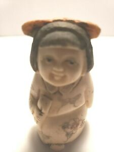 Girl With Pink Bow Colored Netsuke Japanese 1172