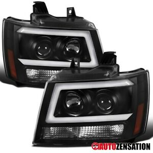 For 2007 2014 Chevy Tahoe Suburban Led Drl Bar Black Projector Headlights