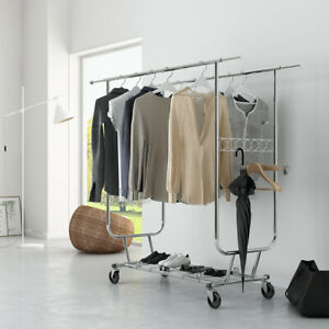 Rolling Double Rail Clothing Garment Rack W Wheels Expandable Rods Collapsible