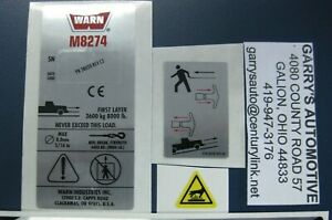Warn 38307 Winch Replacement Decal Label Kit Set Sticker M8274