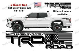Trd Off Road American Flag For Toyota Tacoma Tundra Bedside 2 Set