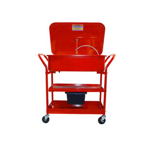 Mobile 20 Gallon Parts Washer Cart Pump Drying Shelf 3
