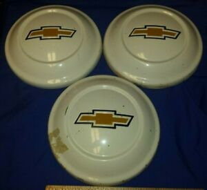 Vtg Original Oem 3 Chevy Luv Dog Dish Hubcaps Used Bowtie White Driver Quality