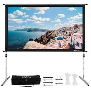 100 16 9 Fast Folding Projector Screen 4k Projection Movie Theater W carry Bag