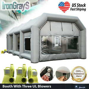Inflatable Spray Paint Booth Portable Tent 2x950w 750w Ul Blowers 33x16x11ft