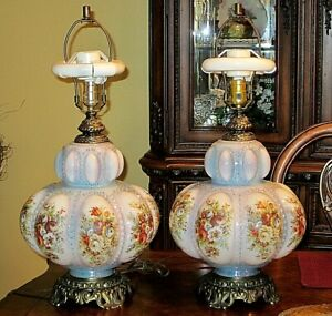 Antique Glass Double Bulb Globe Pair Of Table Lamps Soft Blue Floral