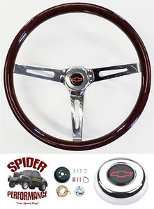 1964 1966 Impala Caprice Chevy 2 Steering Wheel Red Bowtie 15 Muscle Car Wood