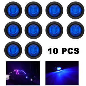 10x 3 4 Round Blue Led Bullet Marker Lights For Truck Trailer Clearance Light