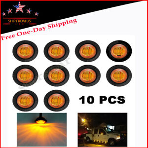 10x 3 4 3led Mini Round Truck Car Side Clearance Marker Bullet Light Amber 12v