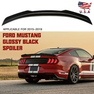 Gloss Black Trunk Spoiler Wing Lid Track Pack Style For 2015 19 Ford Mustang Abs