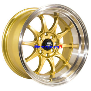 Mst Wheels Mt11 Rims 15x8 0 Gold Deep Lip 4x100 Stance 94 01 Acura Integra Gsr
