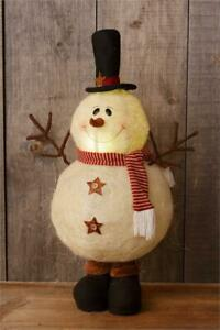New Primitive Country Rustic Large Lighted Snowman Doll Standing Figure 32