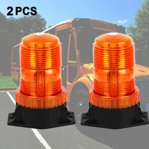 2x Amber Round 30led Forklift Roof Warning Flash Strobe Emergency Light 12v 24v