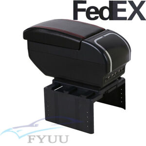 Us Stock Universal Double Layer 9usb Pu Vehicle Central Container Armrest Box X1