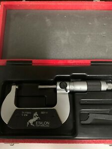Etalon Micrometer 1 2 With Carbide Tipped 0001 Swiss Made With Case Tesa