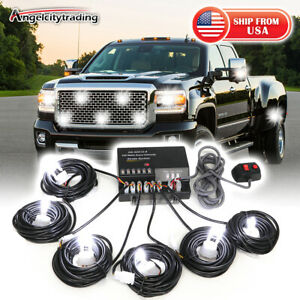 White 120w 6 Hid Bulbs Hide Away Hazard Emergency Warning Strobe Light Kit
