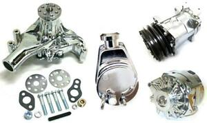 Small Block Chevy Chrome Power Steering Long Water Pump Alternator Compressor