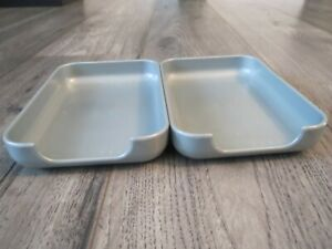 Set 2 Silver Desk Paper Holder Trays Miscellaneous Trays