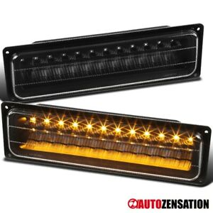 For 88 98 Chevy Silverado Gmc Sierra C10 Black Led Bumper Lights Parking Lamps