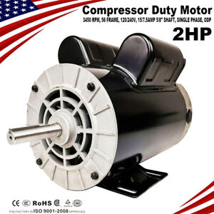 2 Hp Spl Compressor Duty Electric Motor 3450 Rpm 56 Frame 5 8 Shaft 120 240v A