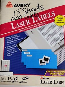 Avery Easy Peel Adhesive Return Address Labels 1 2 X 1 3 4 Opened 1200 Labels