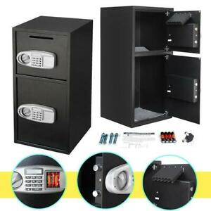 Double Keypad Lock Depository Safe Box Jewelry Cash Home Security Gun Case