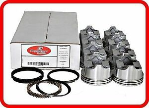 67 90 Chevy 350 5 7l V8 Flat Top Pistons Moly Rings