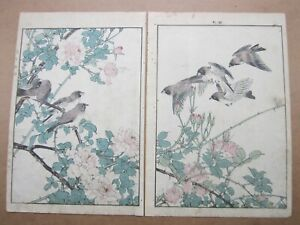 Imao Keinen 1845 1924 Japanese Woodblock Diptych Sparrows
