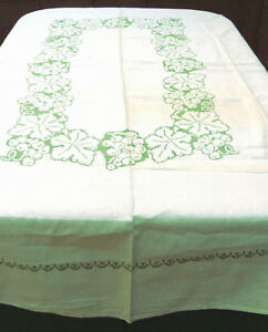 Vintage Linen Tablecloth Cross Stitch Green Grapes 60x78 Rectangle