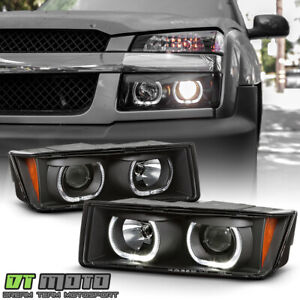 2002 2006 Chevy Avalanche 1500 2500 Blk Led Halo Projector Headlights Headlamps