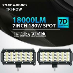 Pair 7 Inch 180w Tri Row Led Light Bar Spot Pods Offroad Driving Fog Lamp Atv 6