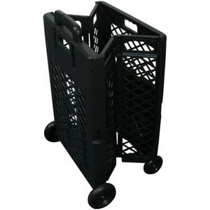 Black Pack n roll Mesh Rolling Cart Retractable Handle Easy Utility Storage
