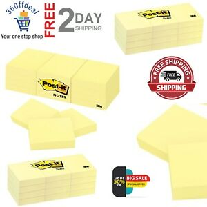 Standard Sticky Notes Post it 1 5 In x2 In Canary Yellow Note 3 packs Of 12 pad